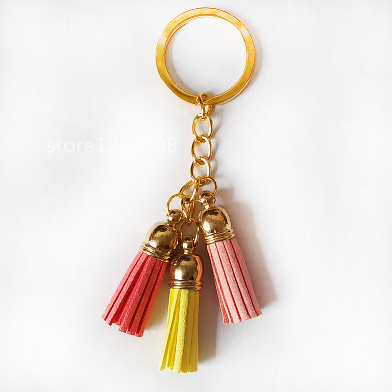 Fashion Mixed 3 color Superfine Fiber 3 Tassel Keychains Golden Body Key Ring Women Bag Charming Pendant Car Key Holder in Key Chains from Jewelry Accessories