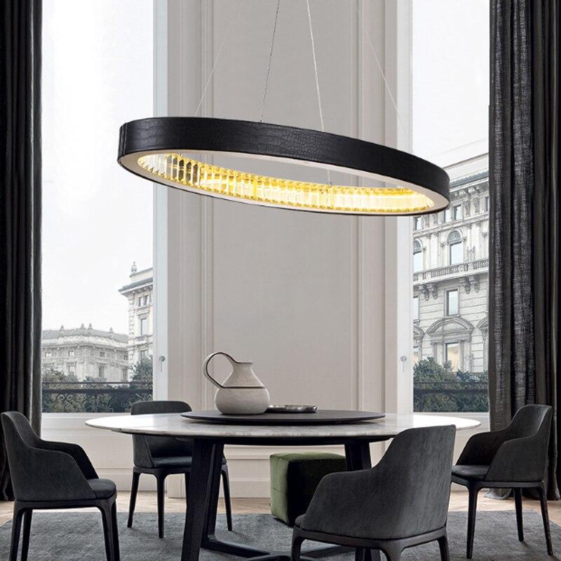 Modern minimalist cowhide decorative ring led crystal chandelier for living room warm light hanging wire lamp 90 260V