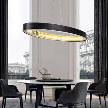 Moderno e minimalista della pelle bovina anello decorativo led lampadario di cristallo per soggiorno luce calda appeso filo della lampada 90-260 v