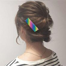 Korean Style Women Girls Metal Alloy Hair Clips Rainbow Colorful Imitation Pearl Duckbill Hairpins Hollow Out Geometric Barrette