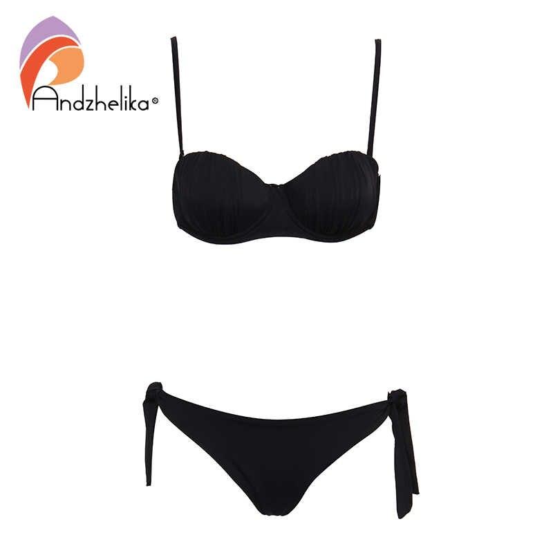 Andzhelika пикантное женское бикини 2019 купальник Mujer Push Up однотонный Бикини Бразильский купальный костюм Купальники Biquini