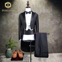 Brand Men's Tailcoat Suits Black Fashion Male Suit Blazer Slim Fit Tuxedo Business Formal Party Wedding Groom Prom Suit 3 Piece