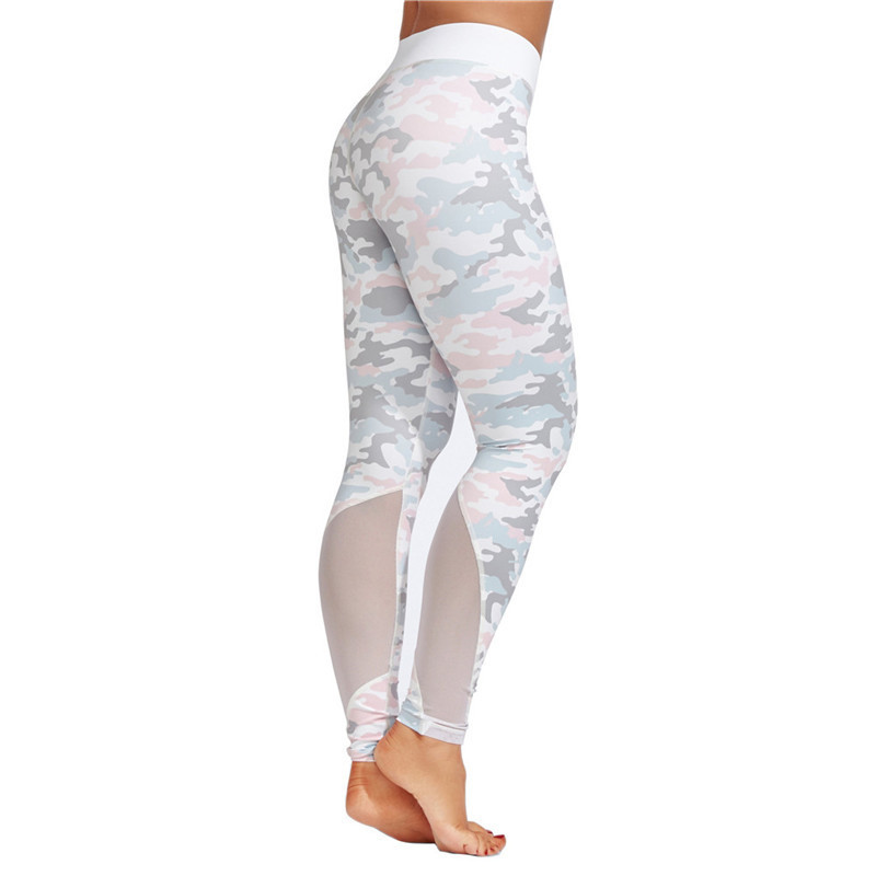 Camo Printed Thick Mesh Patchwork Sporting Leggings Women Gymming Skinny Pants For Women Fitness Trousers