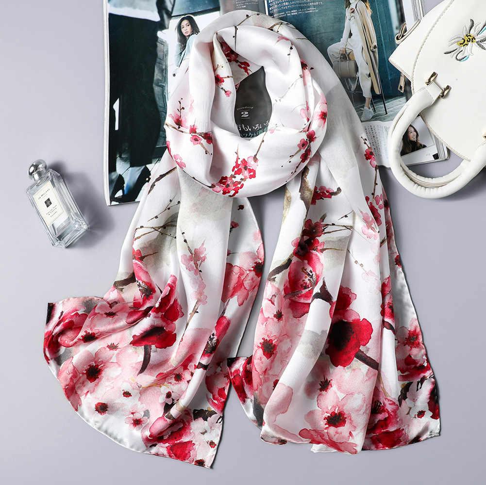 DANKEYISI Real Silk Scarf Mulheres Long Neck Natureza Suave Lenço De Seda Feminino Floral Print Senhora Lenços Bandana