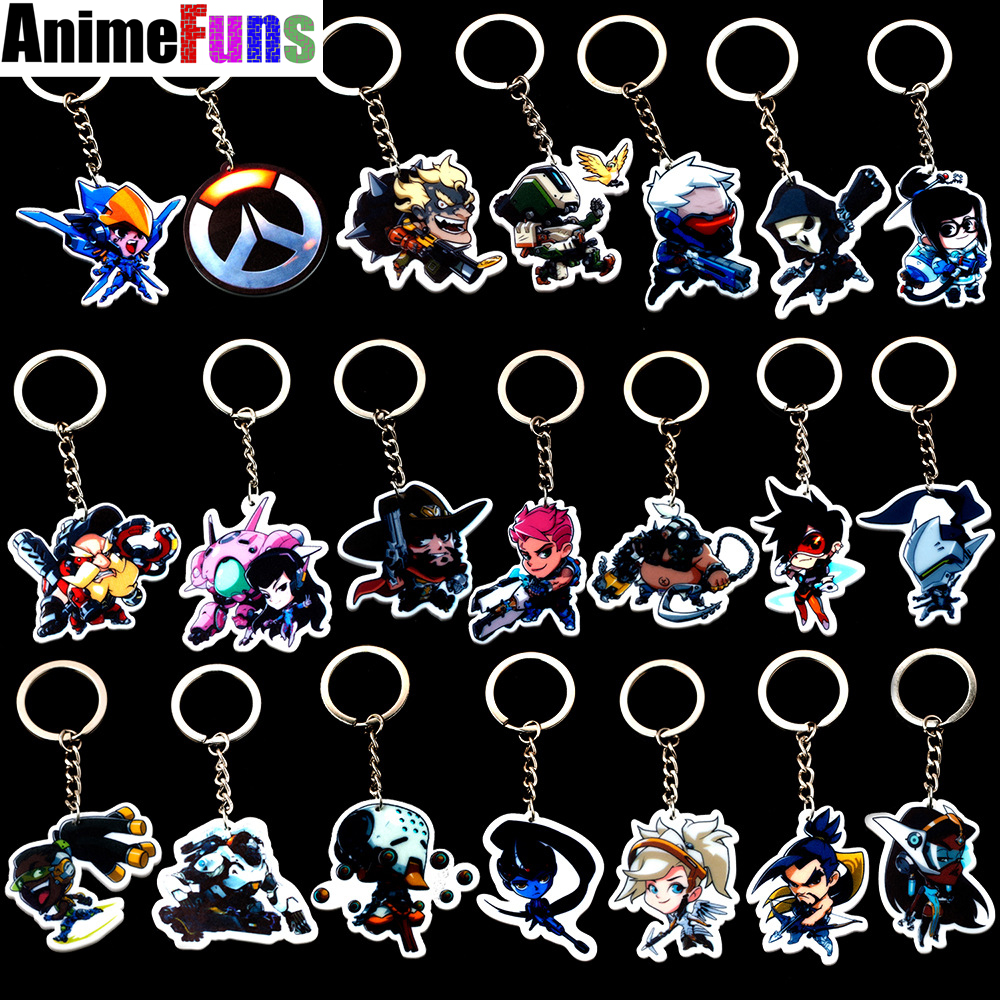 Game Keychain Tracer Reaper OW key chains Blizzard Reaper Winstion Key Ring Widowmaker Holder chaveiro llaveros