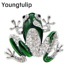 Young Tulip Rhinestone Green Frog Brooch Uni Cute Animal Pin Women Men Dress Coat Accessories High Quality Ornament