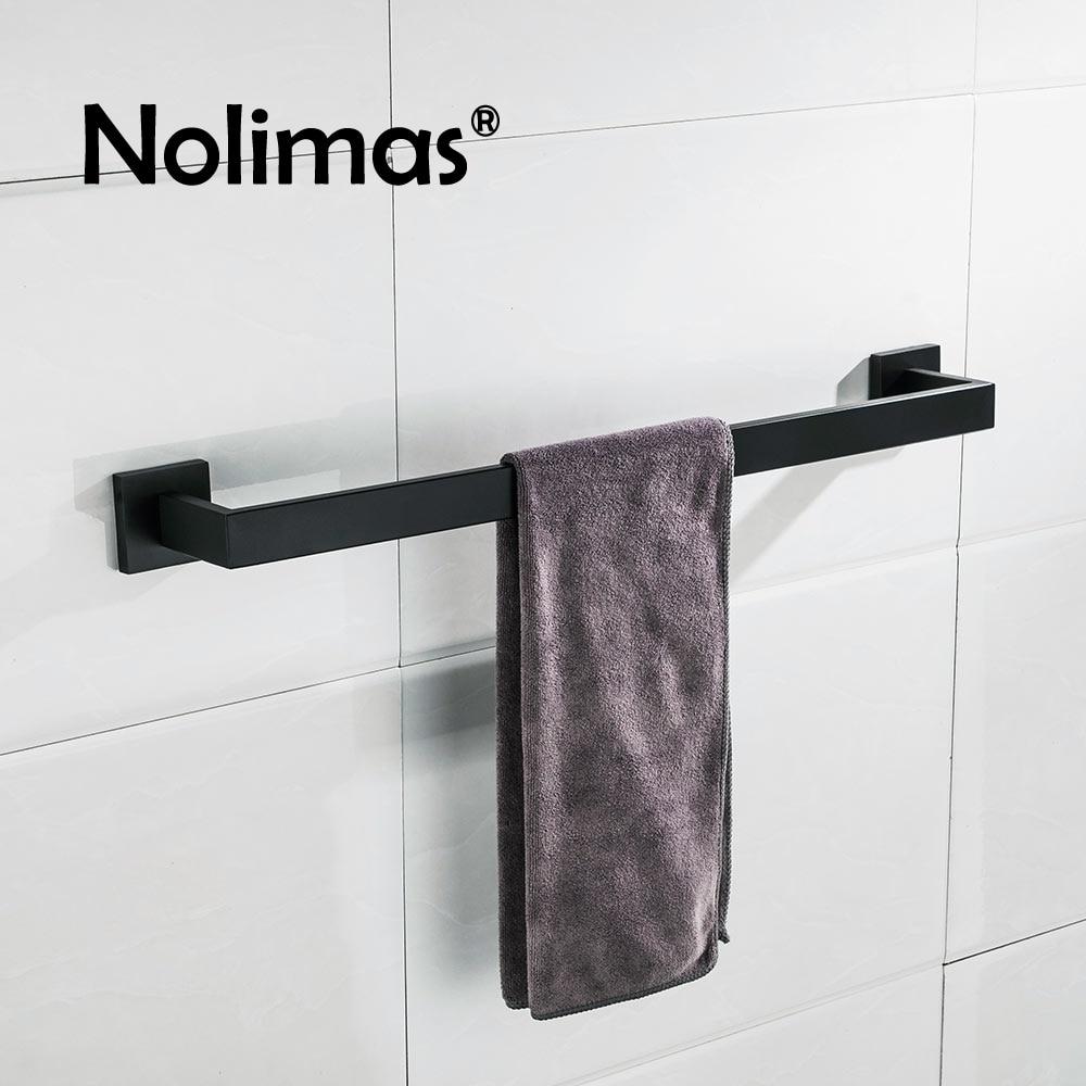 SUS 304 Stainless Steel Black Single Towel Bar Black Square Towel Rack Bathroom Mirror Polished Wall Mounted Towel Holder