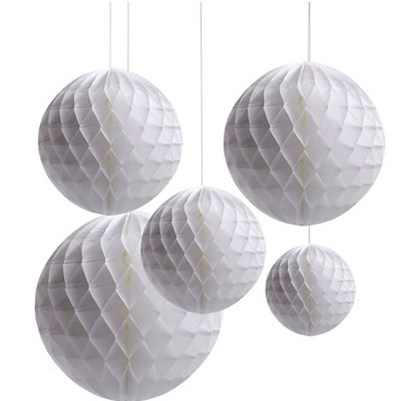 Wholesale 50pcs honeycomb puff ball wedding decor set white paper hanging balls in five sizes 6 - Hanging paper balls decorations ...