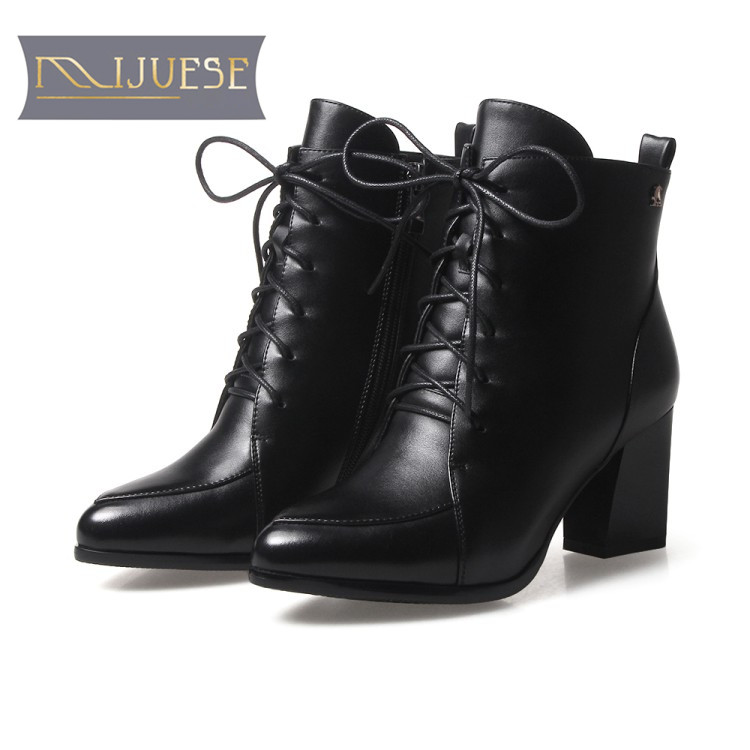 MLJUESE 2018 women boots dark black color lace up high heels ankle boots size 33-43 wedding boots martin boots party dress