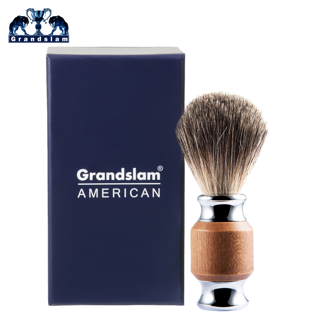 Grandslam 100% Black Badger Hair Shaving Brush Best Fit Safety Razor Shave Brush, Wood Handle Shaving Brush With Shave Cream