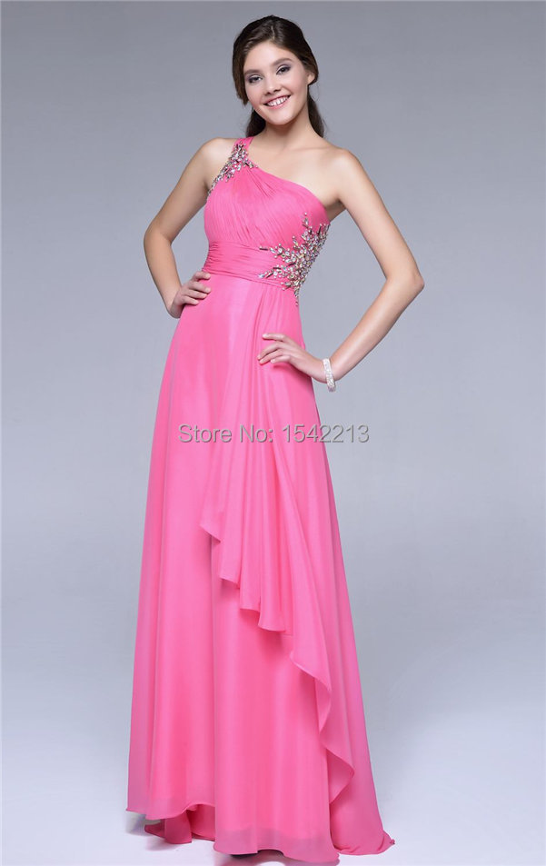 Sexy Open Black Beaded Yellow Lime Green One Shoulder Chiffon Prom ...