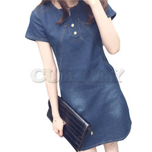 Women Plus Size Korean Casual Denim Ready Dinner Sexy Dress Midi Dresses Abito di jeans *35