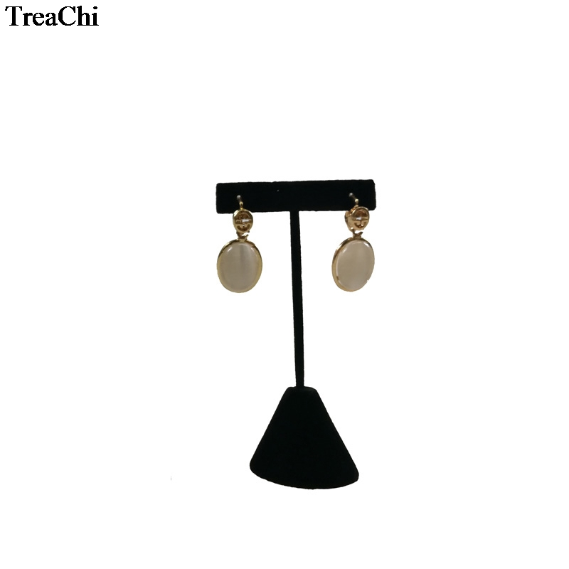 Fashion Flocking Black Velvet Jewelry Display Rack T Bar Earring Holder Stud Organizer Exhibition Showcase Stand 4*6*12cm