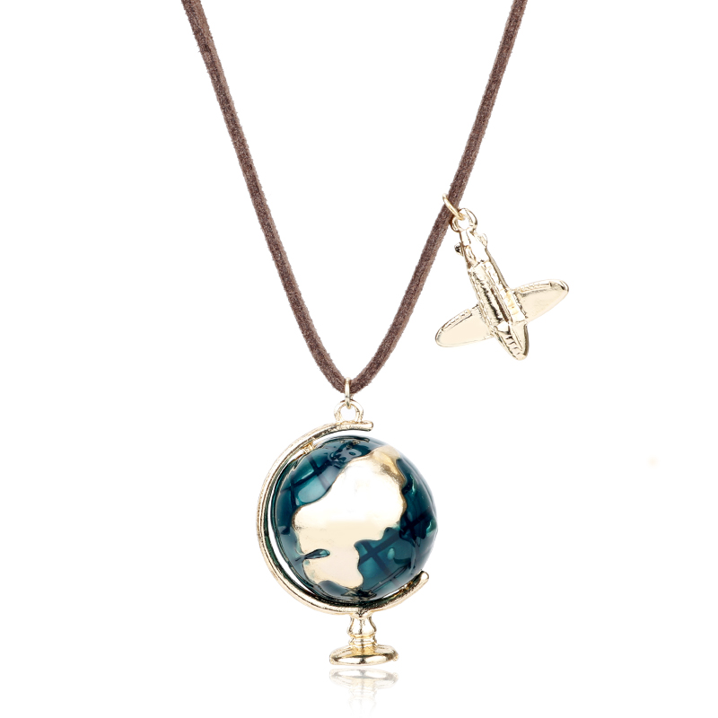 MQCHUN Fashion Mini Globe Earth Aircraft Plane Pendant Charm Leather Enamel Necklace Traveling World Jewelry Unisex Turist Gifts