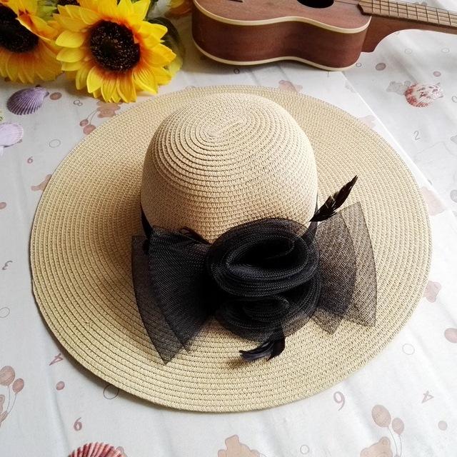 Chapéus de sol para mulheres nova moda de verão praia chapéu Sombrero de flor grande borda chapéu de palha feminino