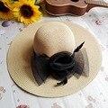 Sol del verano del cordón sombreros para mujer nueva moda playa pluma del Sombrero del Sombrero de la flor neta de ala ancha Floppy paja Sombrero femenino
