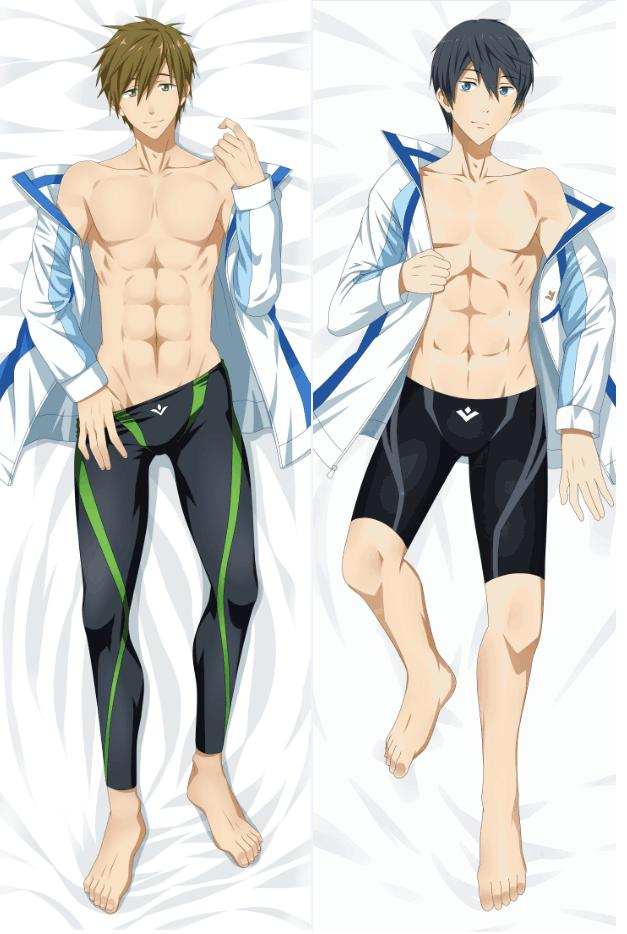 Japanese Anime Free! Haruka Nanase Rin Male BL Pillow Cover Case Hugging Body Dakimakura