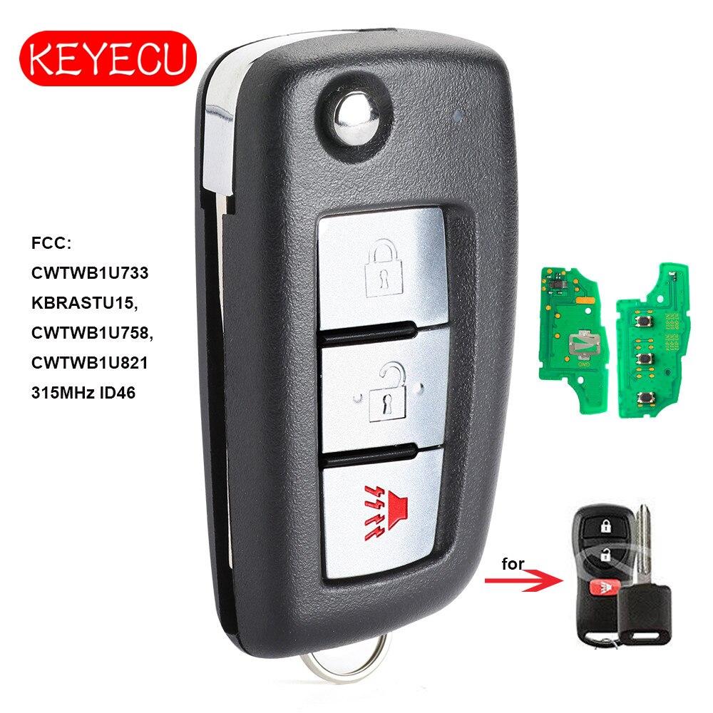 Keyecu Upgraded Remote Key 3 Button Fob 315MHz ID46 Chip for Nissan & Infiniti FCC: KBRASTU15 CWTWB1U733