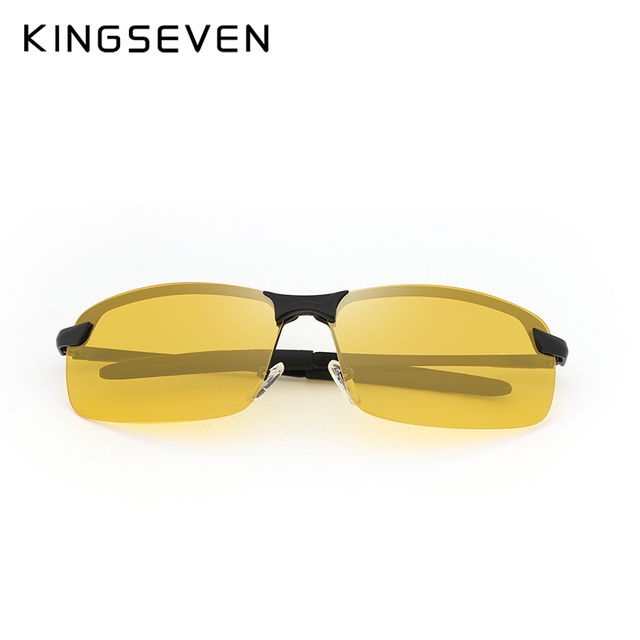 KINGSEVEN Night Vision Goggles Driving Polarized Sunglasses for men's car Driving Glasses Anti-glare Alloy Frame glasses night 1