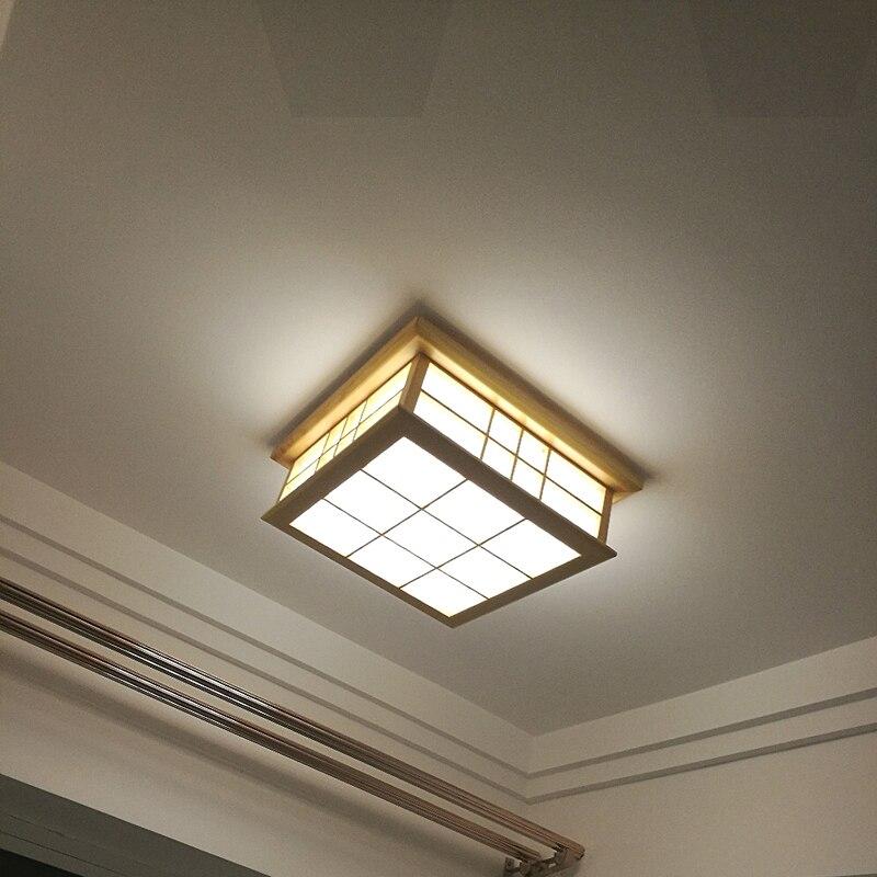 Willlustr светодиодный потолочный светильник из дерева, японский Деревянный светильник для отеля, дома, столовой, спальни, ресторана, акриловая панель осветительная потолочная - 3