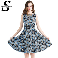 SunnyYeah 2017 Summer Women Dress Vintage Retro Audrey Hepburn Vestidos Cotton 50s 60s Casual Rockbilly Party