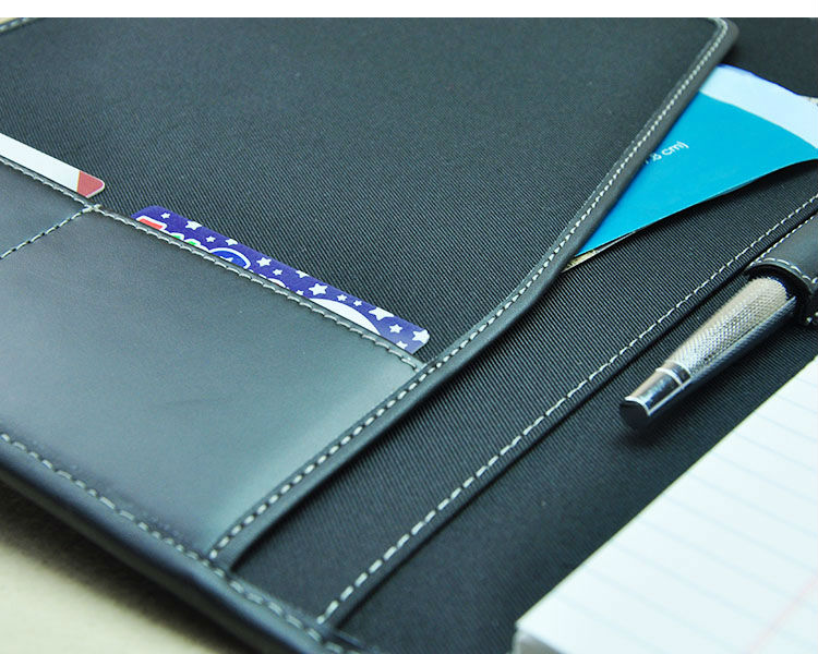 A4 genuine cowhide leather manila work business manager file folder organizer conference agreement folders course black 756A
