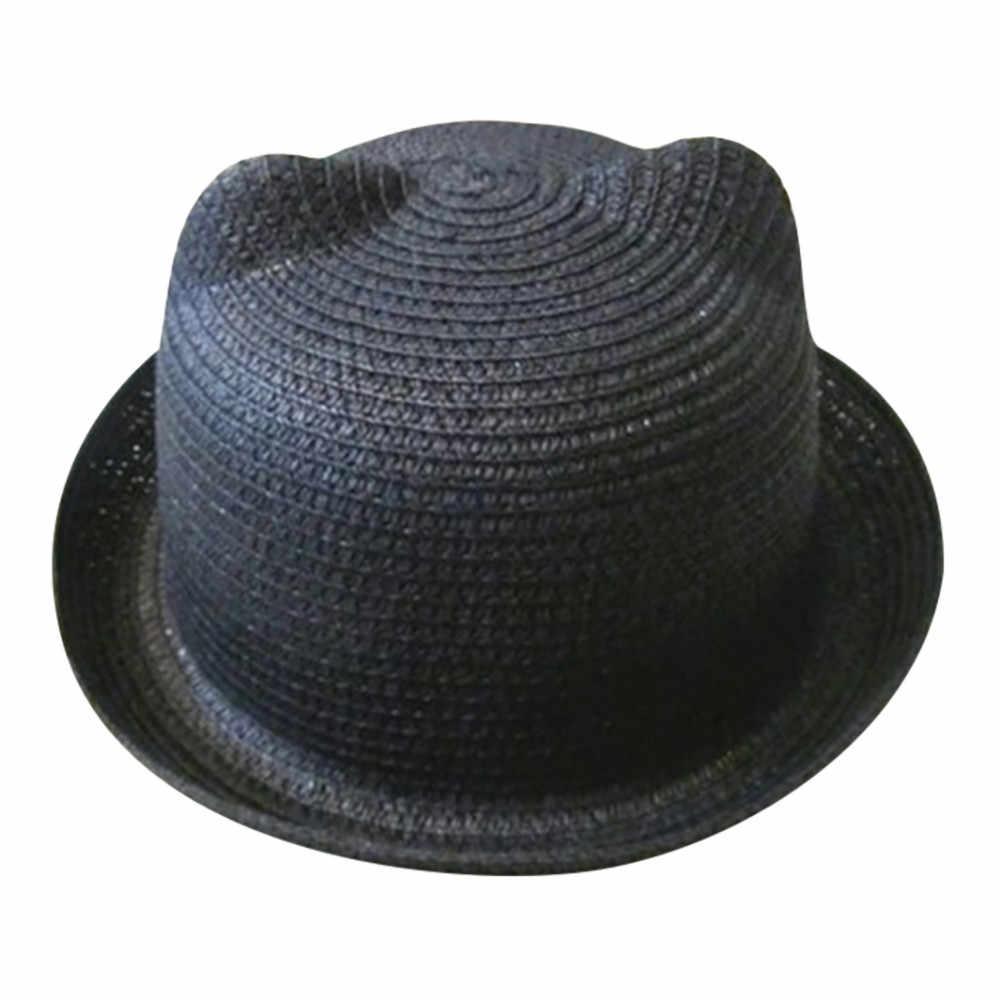 MUQGEW 2019 moda kulaklar hasır şapka bebek şapka kızlar için kova şapka erkek kap çocuk güneş yaz kap çocuklar katı plaj Panama kapaklar