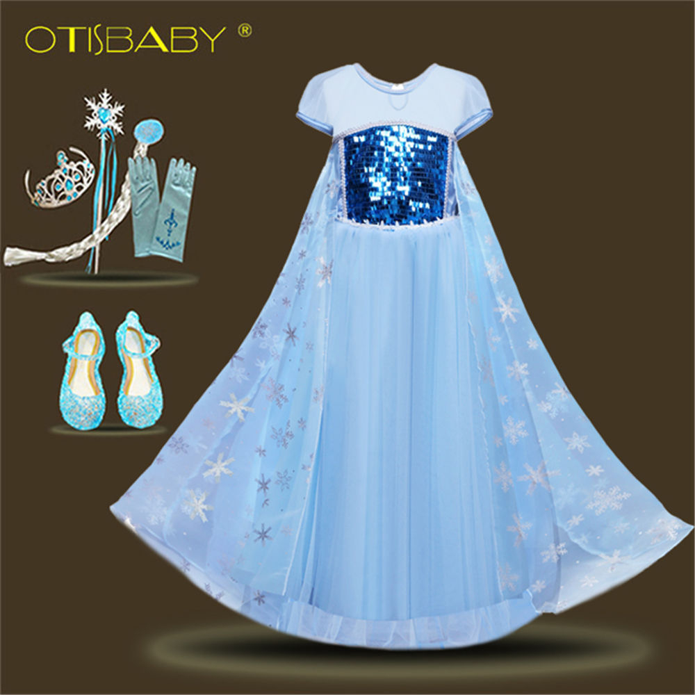 цена на New Girls Elsa Dress Up Clothes Kids Short Sleeve Sequins Snow Queen Elza Princess Cosplay Costumes Kids Costume Accessories