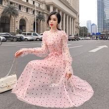 Pink Summer Dress Women 2019 Vintage Turtleneck Long Sleeve Mesh Polka Dot Dress Korean Two piece A-line Sheer Long Dress vintage polka dot sheer skater dress