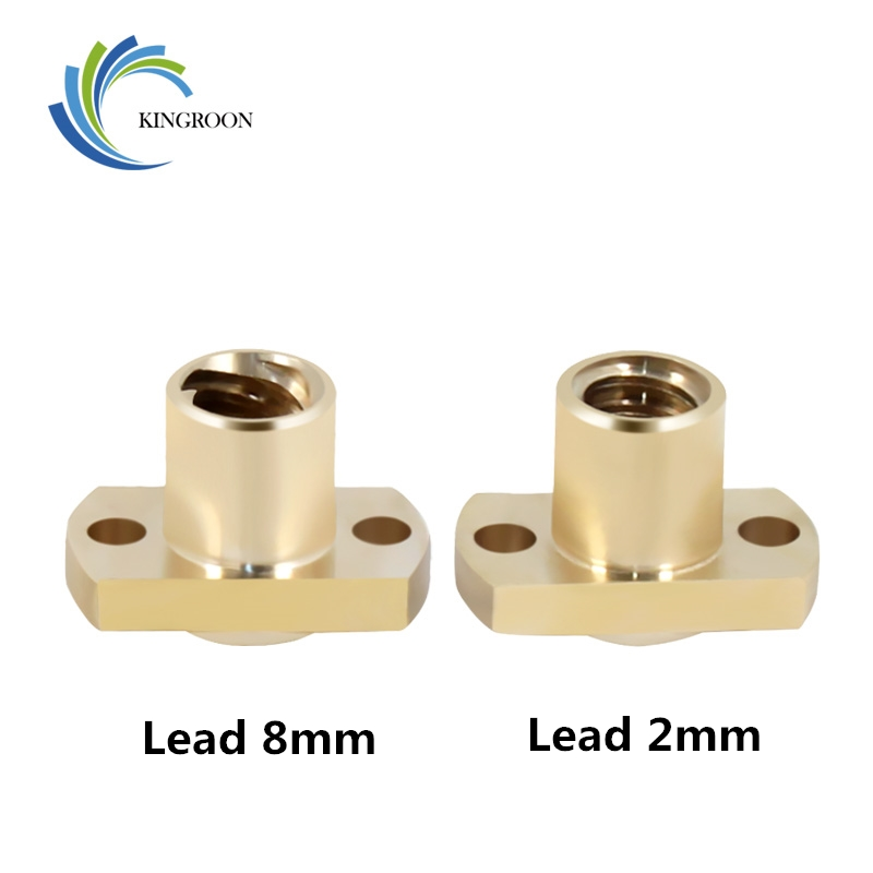 KINGROON New T8 Nut H Flange Copper Nut For T8 Lead Screw Pitch 2mm Lead 2mm/8mm For T8 Screw Trapezoidal Screw 3D Printer Parts
