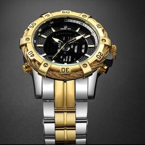 Image 3 - GOLDENHOUR роскошные Цифровые и аналоговые часы, мужские спортивные водонепроницаемые кварцевые наручные часы с двойным дисплеем, модные мужские часы
