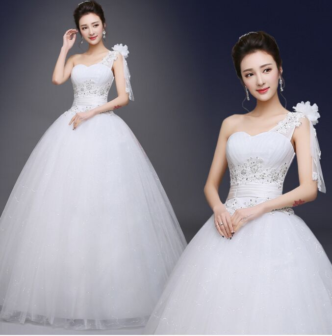 2017 New Stock Plus Size Women Pregnant Bridal Gown Wedding Dress Ball Gown One Shoulder Bling White Sexy Sweetheart Bling H76