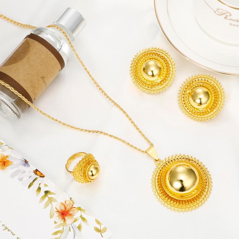 Ethiopia Shamty Ukuran Besar Bridal Jewelry Set Untuk Wanita Afrika - Perhiasan fashion - Foto 6