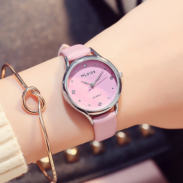 Pink Ladies Watch Fashion Female Leather Quartz Wrist Watch Exquisite Women Watc