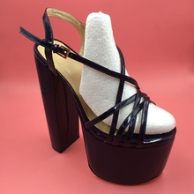 DIY Navy Blue Women Sandals Criss Cross Strap 21cm Chunky Heels 8cm Platform Customized Sandals Shoes