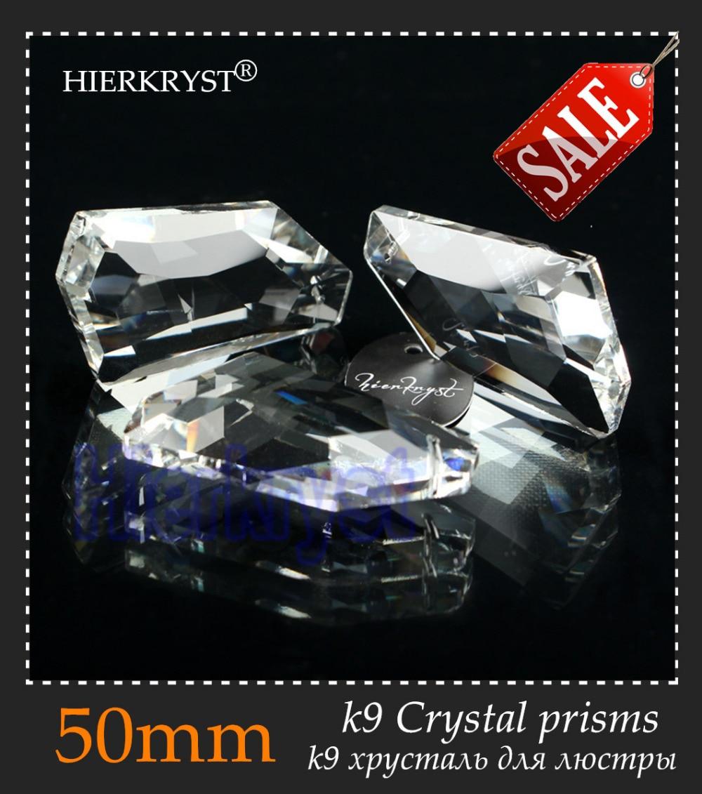 HIERKYST 1 adet K9 Cam Kristal Prizmalar Kolye Avizeler Parçaları Cilalar Gökkuşağı Lamba Aydınlatma Asmak Damla 50mm 2