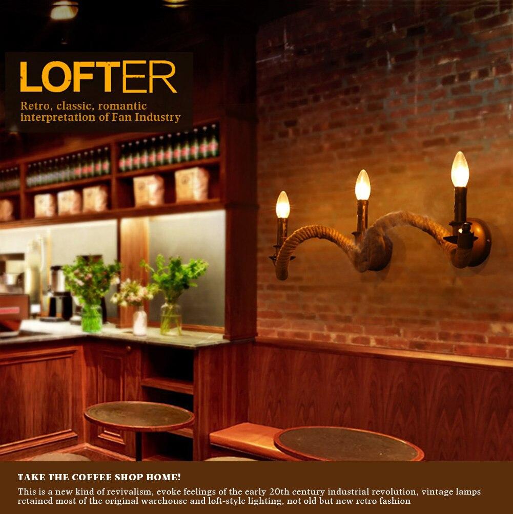ФОТО 3 Heads American Style Hemp Vintage Lampshade Rope Wall Lamp Bar Wall Lights American Rustic Lighting Coffee Wall Lamp