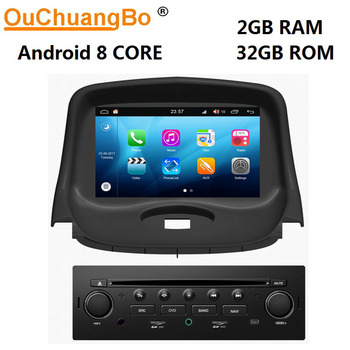 Ouchuangbo 8 Core car multimedia player gps recorder for Peugeot 206 with android 8.0 radio 1080P video CarPlay 2GB+32GB S200