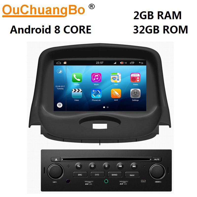 Ouchuangbo 8 Núcleo reprodutor multimídia carro gravador gps para Peugeot 206 com android 8.0 1080P rádio vídeo CarPlay 2GB + 32GB S200