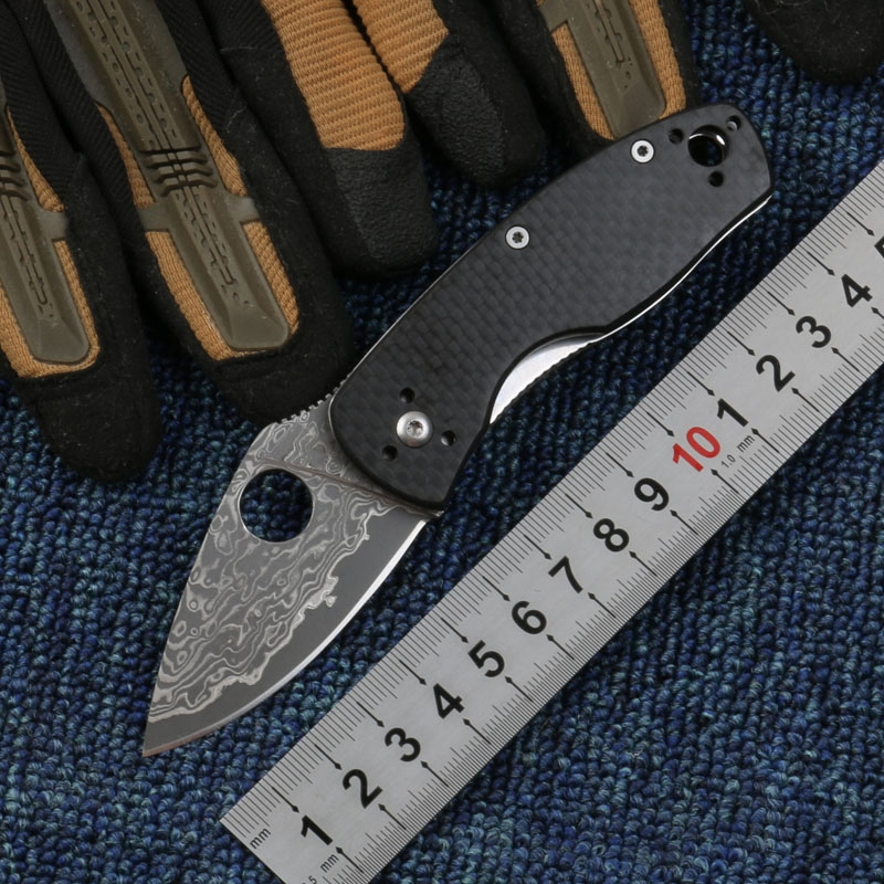 New Damascus steel blade folding knife carbon fiber handle tactical survival pocket knife outdoor utility hand tools handmade damascus steel blade pocket folding knife yellow brass black pearl handle utility knife engravers brass