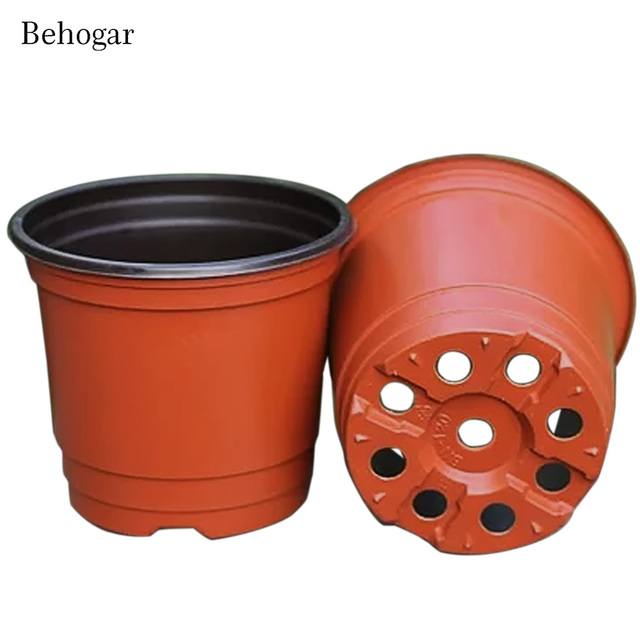 behogar 100 pcs double color plastic garden flower pot mini