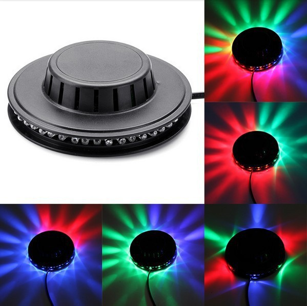 Portable multi UFO LED music Laser Stage Lighting Adjustment Party Wedding Club Projector light US or EU retail new led stage light full color e27 big adjustment dj party wedding club projector ac 85 265v free shipping