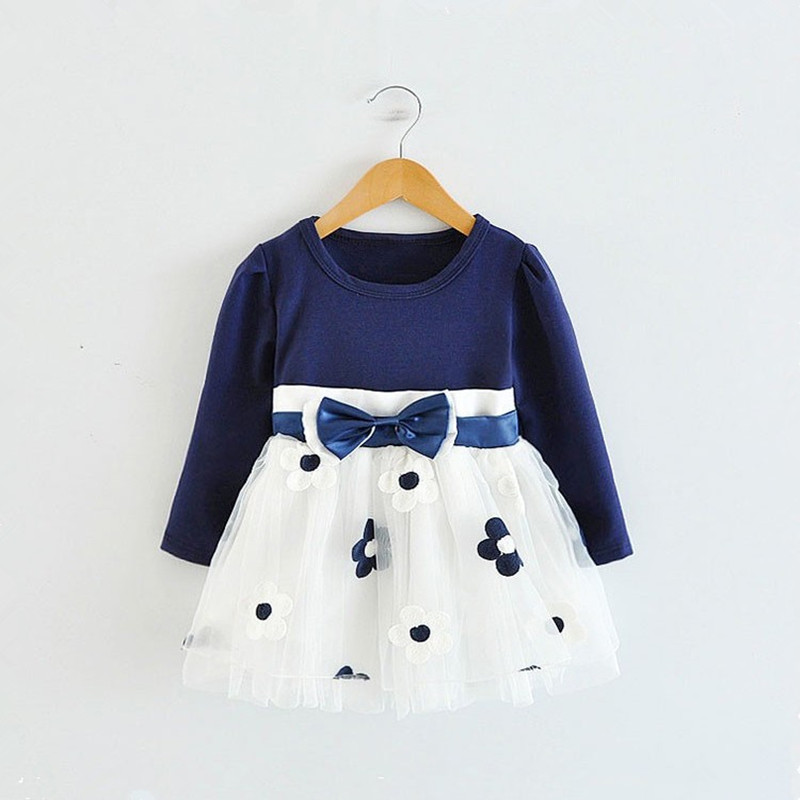 2018 Winter Long Sleeve Baby Girls Dress For Girl Christening Birthday 0 2T Newborn Toddler Dress Kids Casual Wear Daily Clothes