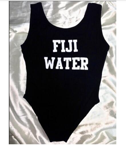 Fashion Clothing Summer One Piece Bodysuit Swimwear FIJI WATER Funny Jumpsuit Rompers Beachwear Swimsuit  Suits