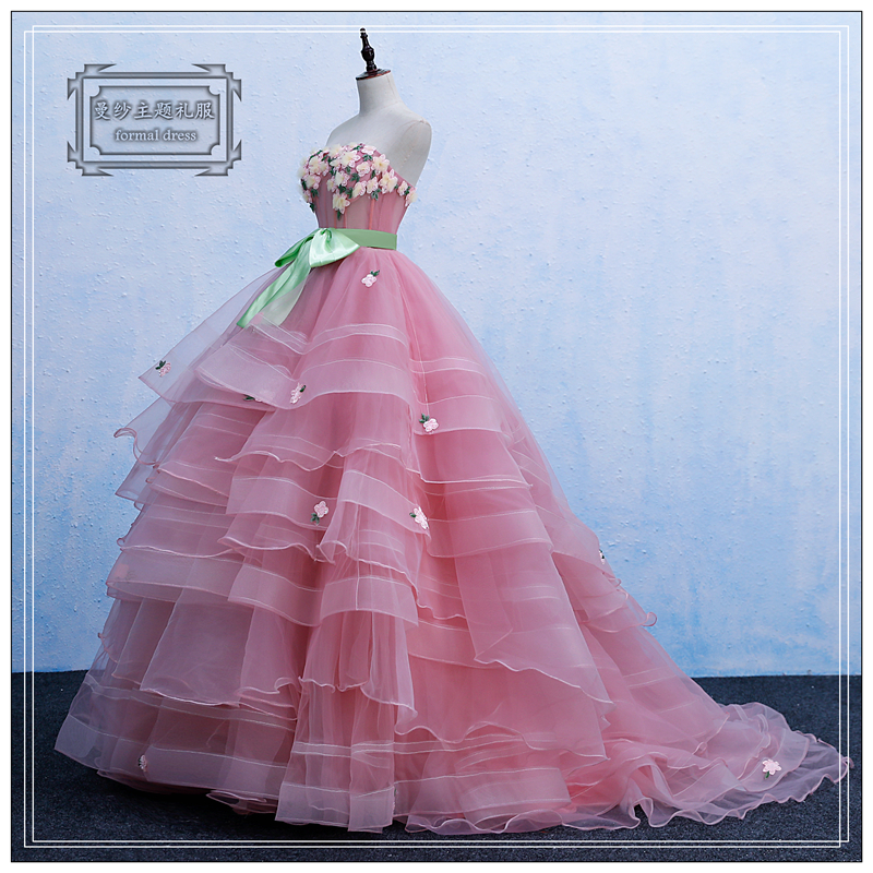 100%real pink full cake ruffled vintage ball gown fairy cosplay medieval dress Renaissance Gown queen cosplay Victoria dress