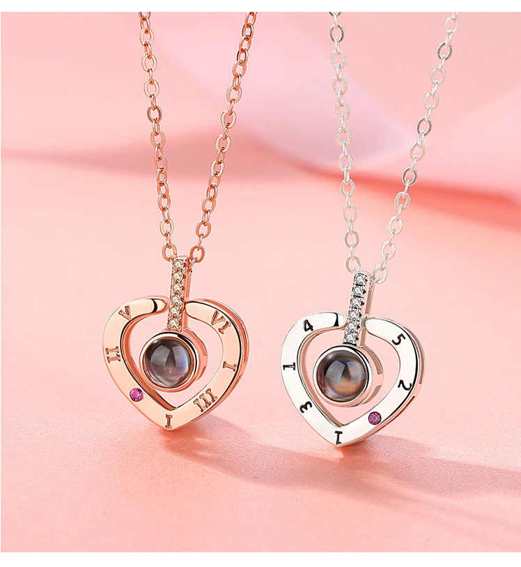 7cb073f11 ... Dropshipping New Rose Gold Silver 100 Languages I Love You Projection  Pendant Necklace Heart Love Memory ...