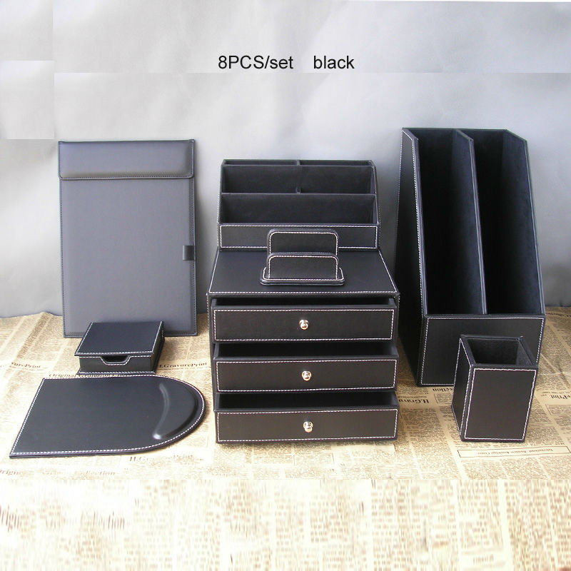 8pcs Office Business Leather Desk Organizer Set File