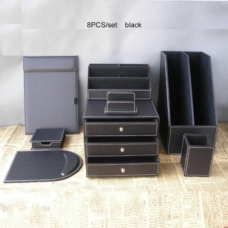 8PCS office business leather desk organizer set file drawer stand holder stationery pen box A4 conference folder card stand K256