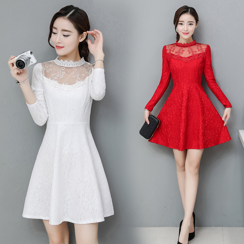 2017 Women Dresses New Autumn Fashion Hollow Out O-neck Lace Dress Party High Quality Women Long Sleeve Slim Casual Dresses