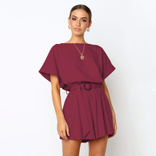 Womens rompers jumpsuit Cotton sexy jumpsuit summer 2019 macac�es elegantes Solid color Oneck short sleeve casual strap jumpsuit